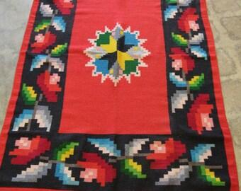 Vintage Soft Red Wool Blanket 74 x 45