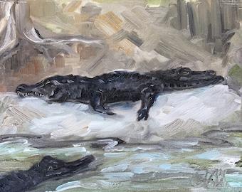"""Alligators at Zoo Atlanta, oil on panel, 8"""" x 10"""""""