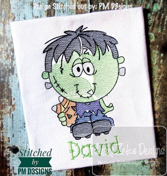 Kid Frankenstein sketch embroidery design - frankenstein embroidery design - halloween embroidery design - sketch embroidery design -monster