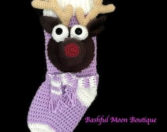 Rudolph Reindeer  Christmas  Stocking - Custom Made - Crochet - Country Christmas