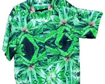Mens Hawaiian Shirt,Hippy Shirt,Blue Widow Marijuana Print,Festival Shirt,Resort Wear,Mens Beach Wedding Shirt,Cannabis shirt,Resort shirt