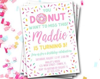Donut Birthday Invitation, Doughnut Birthday Invitation, Donut Invitation, Pink Donut Invitation, Donut Party, Donut Invite, DIY Printable