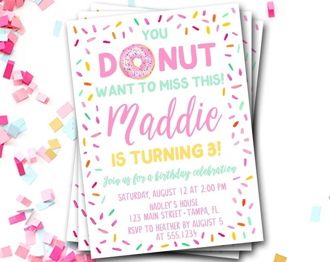 Donut Birthday Invitation, Doughnut Birthday Invitation, Donut Invitation, Pink Donut Invitation, Donut Party, Donut Invite, DIY Printable