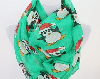Penguin Scarf, Christmas Scarf, Penguin with Christmas Hat, Penguin Lover Gifts, Christmas gift, for her, autumn scarf,