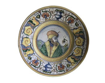 "Tin Glazed Earthenware Majolica Wall Plate ""Monteluce"" Perugia, Italy c. 1920s  FREE SHIPPING!!!"