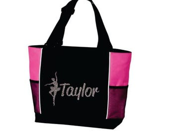 DANCE TOTE with Dancer's Name. Dance Bag. Gymnastics Tote. Gymnastics Bag. Dancer Tote. Dancing Tote. Ballet Tote. Ballet Bag. Ballet Dancer