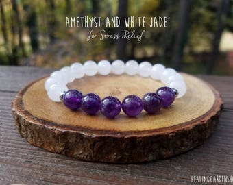 Amethyst and White Jade Bracelet // Stress Relief // Negative Energy Protection // Healing Garden Shop