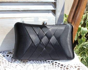 Black/silky fabric/silver chain/long strap/clutch/box/evening purse. Handbag. For prom/wedding/special occasion.