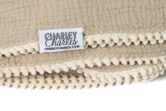 LIGHT TAN Swaddle Blanket /Cream Pom Swaddle Blanket /Gauze Blanket / Blanket / Blanket / Newborn Blanket / Newborn Baby Blanket