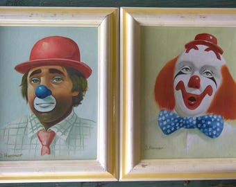Two Vintage Circus Clown Clowns Oil Painting Paintings Framed Artist Signed