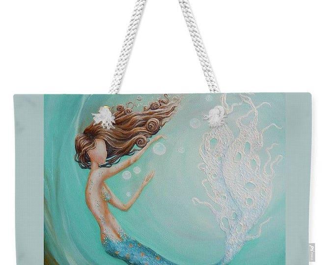 Large mermaid weekender tote bag,  aqua mermaid purse,  blue mermaid beach tote, original painting by Nancy Quiaoit