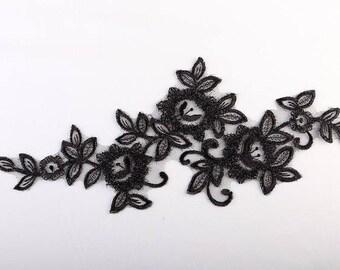 1 apply beautiful guipure 32 cm X 14 cm black organza
