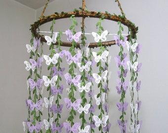 Baby Mobile,Hanging,Butterfly Mobile,Girl,Boy,Nursery decor,Crib Mobile,Kit,Neutral,Bridal Baby Shower,Birthday Gift,Art,Purple,Lavender