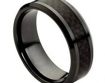 Ceramic Ring with Black Carbon Fiber Inlay – 8mm