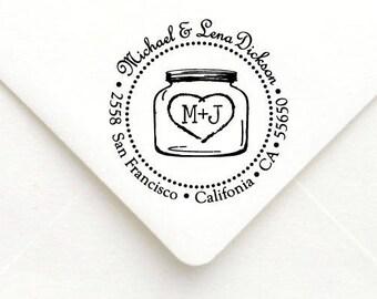 Personalized Self Inking Return Address Stamp - self inking address stamp - Custom Rubber Stamp, Mason Jar Address Stamp A45