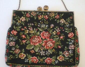 Vintage 40's French Tapestry Petite Handbag Purse Walborg Black Floral