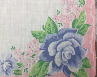 Sale Handkerchief Blue Roses Pink Blossoms Bouquets Mid Century Something Blue
