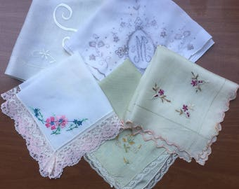 SALE Hanky Collection of 5 Lace, Embroidery Repurposing Crafting Sewing Use