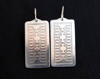 Sterling silver etched earrings, New Orleans wrought iron fence design