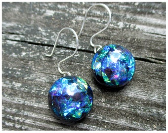 Violet Purple Blue Green Iridescent Earrings