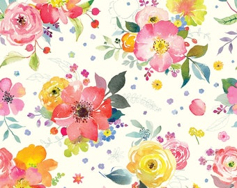 Yorkshire Blooms in Ivory by Brenda Walton for Blend Fabrics - 1/2 yard