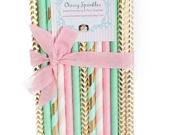 Pink and Mint Party Supplies -Mint Straws -Pink Straws -Gold Foil Straws -Mint and Pink Wedding Decorations -Pink Stripe -Mint Stripe *Gold