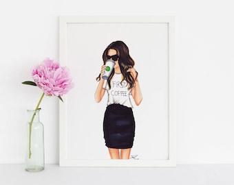 First Coffee - Fashion Print - Fashion Illustration - Illustration - Fashion Art - Art - Fashion - Coffee Mug