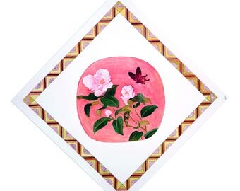 Painting  Camellia and Butterfly