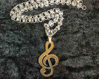 Music Necklace - Chainmaille Necklace with Music Pendant - Stainless Steel Necklace with Treble Clef Pendant