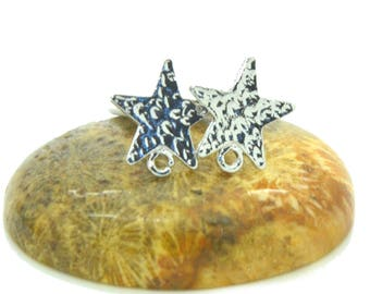 10 supports earrings silver 13mm star studs