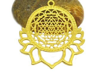 ethnic mandala connector 40x34mm copper color gold