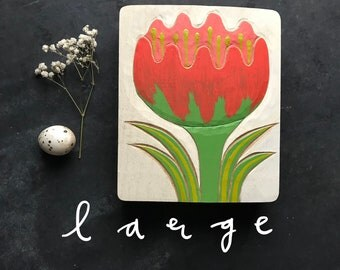 TULPE in XL, Blume Holzrelief in Eiche