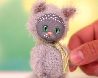 4 inches miniature Kitten, Blythe friend artist teddy bears miniature teddy bear Blythe friend toy crochet teddy bear ooak teddy bear