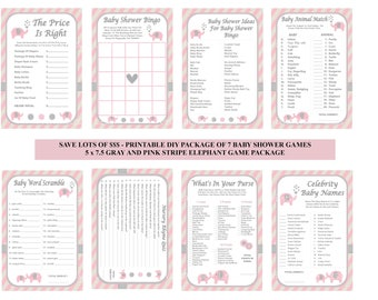 Elephant baby shower etsy pink elephant baby shower game pink stripe baby game pink gray baby shower game solutioingenieria