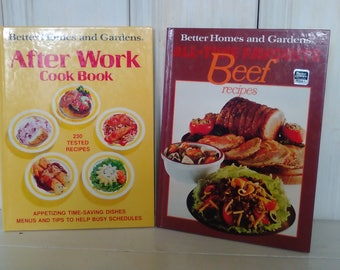 Better Homes and Gardens Pair of Cookbooks/1985/All Time Favorite BEEF RECIPES/After Work Cookbook/96 pages/Hardback/lindafrenchgallery