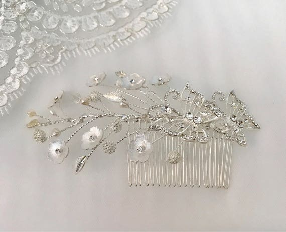 Bridal Comb, Bridal Comb with Freshwater Pearls ,Wedding Hair Accesories, Crystal Wedding Comb, Silver Comb,  Bridal Headpiece-WATER LILIES