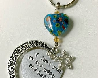 I love you to the moon and back key chain, Love key chain