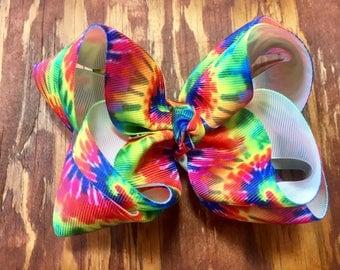 Rainbow Tie Dye Double Stack Bow