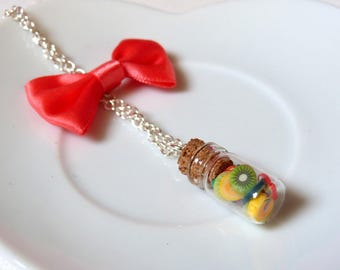 Necklace small vial filled with fruit