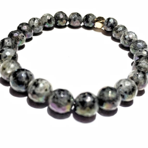 Faceted Labradorite (potential) beaded  Bracelet 8mm, gemstone, black, grey, Meditation, Yoga, Mala, Gold plated, mens, womens, unisex