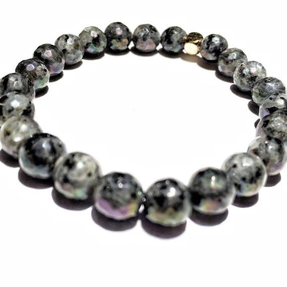 Faceted Labradorite (potential) beaded  Bracelet 8mm, gemstone, black, grey, Meditation, Yoga, Mala, Gold plated, mens, womens, unisex