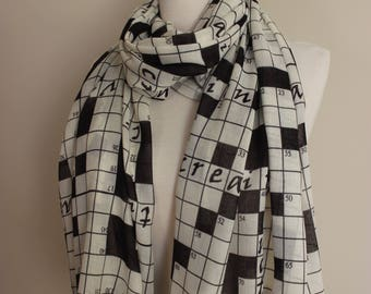 Crossword Puzzle Scarf Print Scarf Geek Scarf Nerd Scarf Newspaper Scarf Dork Scarf crossword shawl gift for him gift for husband geek gifts
