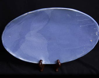 Blue Earthenware Bread Bowl; Serving Platter; Georgia Clay; Army Veteran; Veteran Owned; Female Veteran;Disabled  Woman Veteran