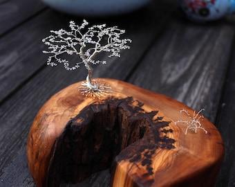 Tree-Of-Life sculpture. Olive tree wood log and sterling silver tree sculpture. handmade wood art. unique craft. elfic tree of life art