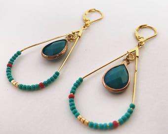 "Earrings ""Little Havana"" mini hoop boho turquoise and gold"