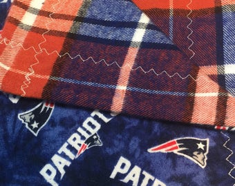 New England Patriots/Plaid Flannel Blanket
