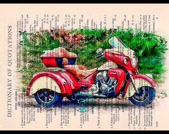 Red-Cream Indian Trike Motorcycle Art Beautifully Upcycled Vintage Dictionary Page Book Art Print, Drawing