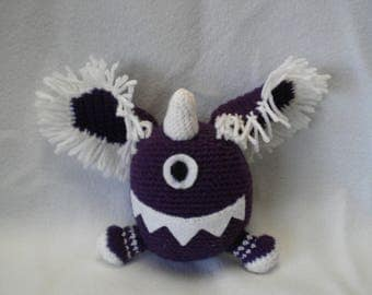 Crocheted One eyed one horned flying purple people eater plushie
