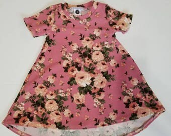 Floral t-shirt dress, floral swing dress, baby floral dress, toddler floral dress, t-shirt dress, Easter dress, pink floral dress,