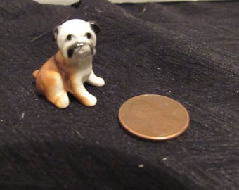 "Vintage Bug House Miniature Bone China Bulldog Puppy Figurine Made in Japan .75"" Tall Original Sticker Brown and White Dollhouse"
